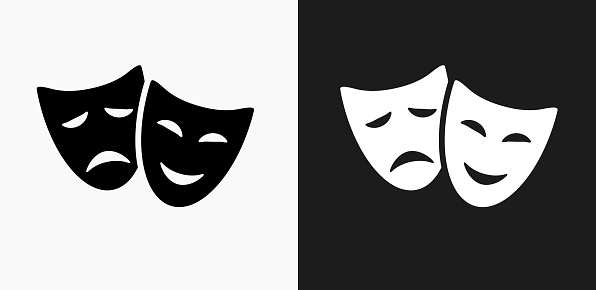 Theatre Comedy and Tragedy Icon on Black and White Vector Backgrounds