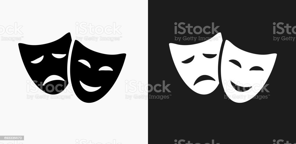 Theatre Comedy and Tragedy Icon on Black and White Vector Backgrounds vector art illustration