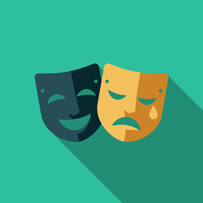 Theatre Flat Design Arts Icon with Side Shadow