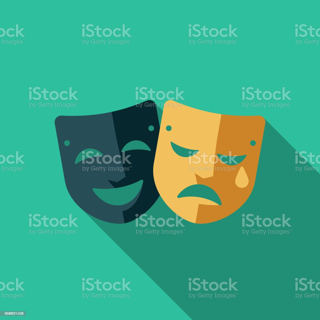 Theatre Flat Design Arts Icon with Side Shadow vector art illustration