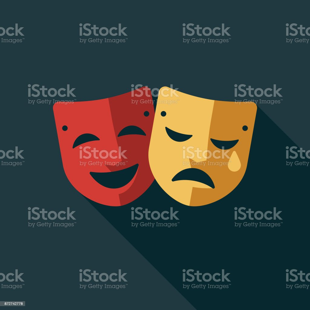 Theatre Flat Design Education Icon with Side Shadow vector art illustration