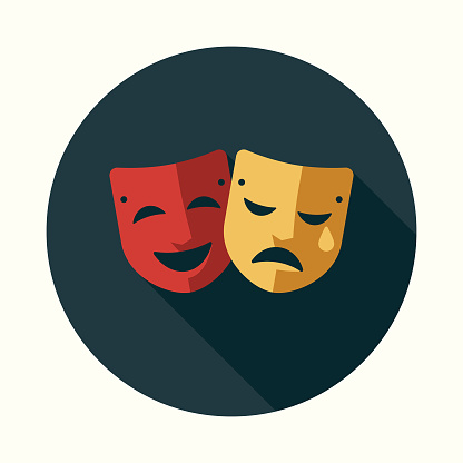 Theatre Flat Design Education Icon with Side Shadow