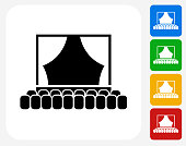 Theatre Icon. This 100% royalty free vector illustration features the main icon pictured in black inside a white square. The alternative color options in blue, green, yellow and red are on the right of the icon and are arranged in a vertical column.