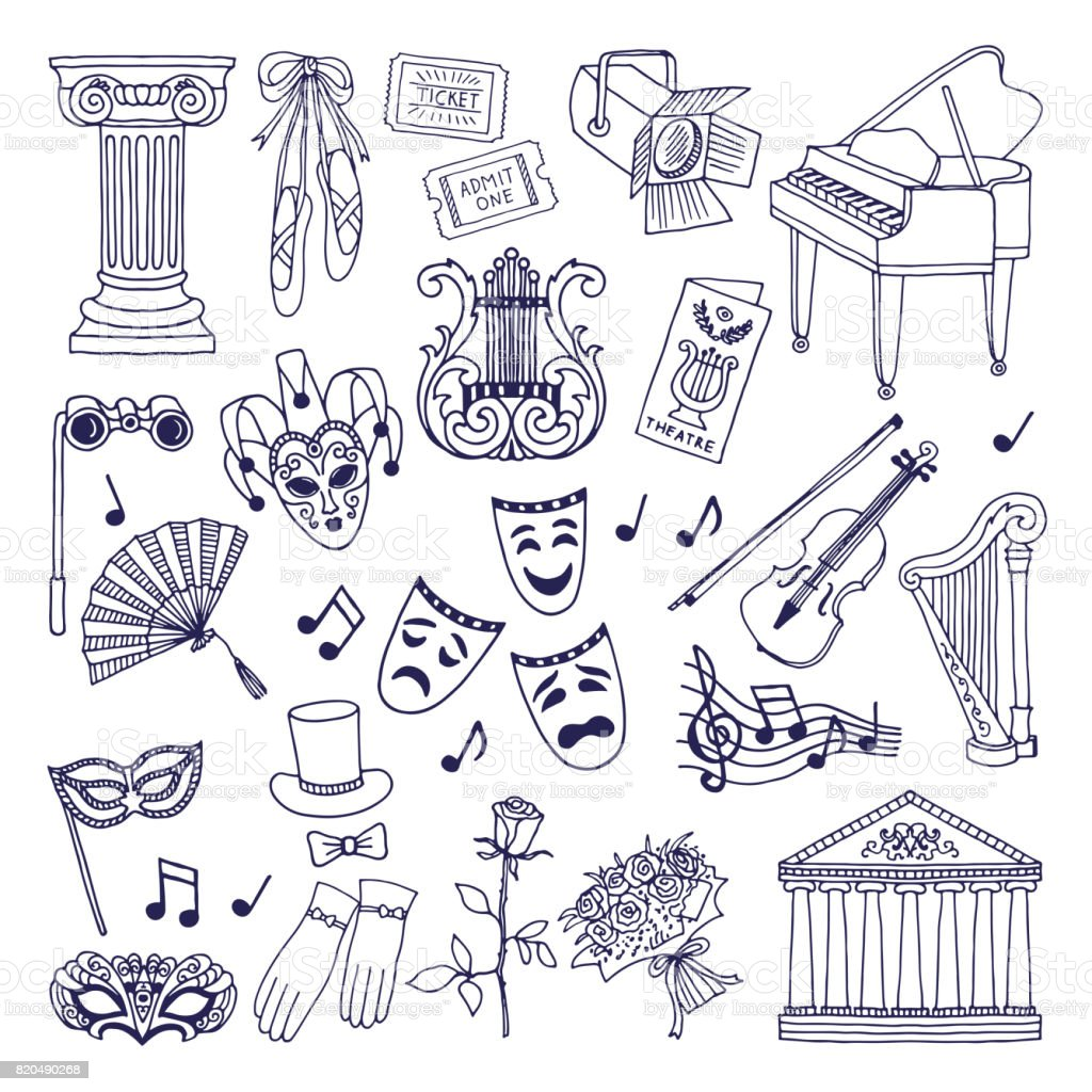 Theatre illustrations set. Opera and ballet vector symbols isolate on white vector art illustration