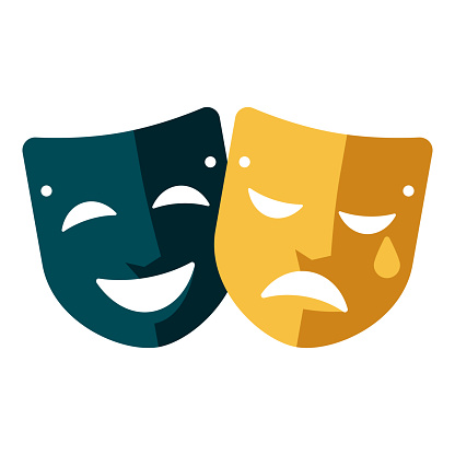 Theatre Masks Icon on Transparent Background