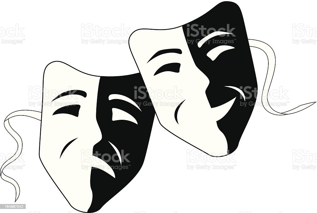 Theatre masks tragedy comedy vector art illustration
