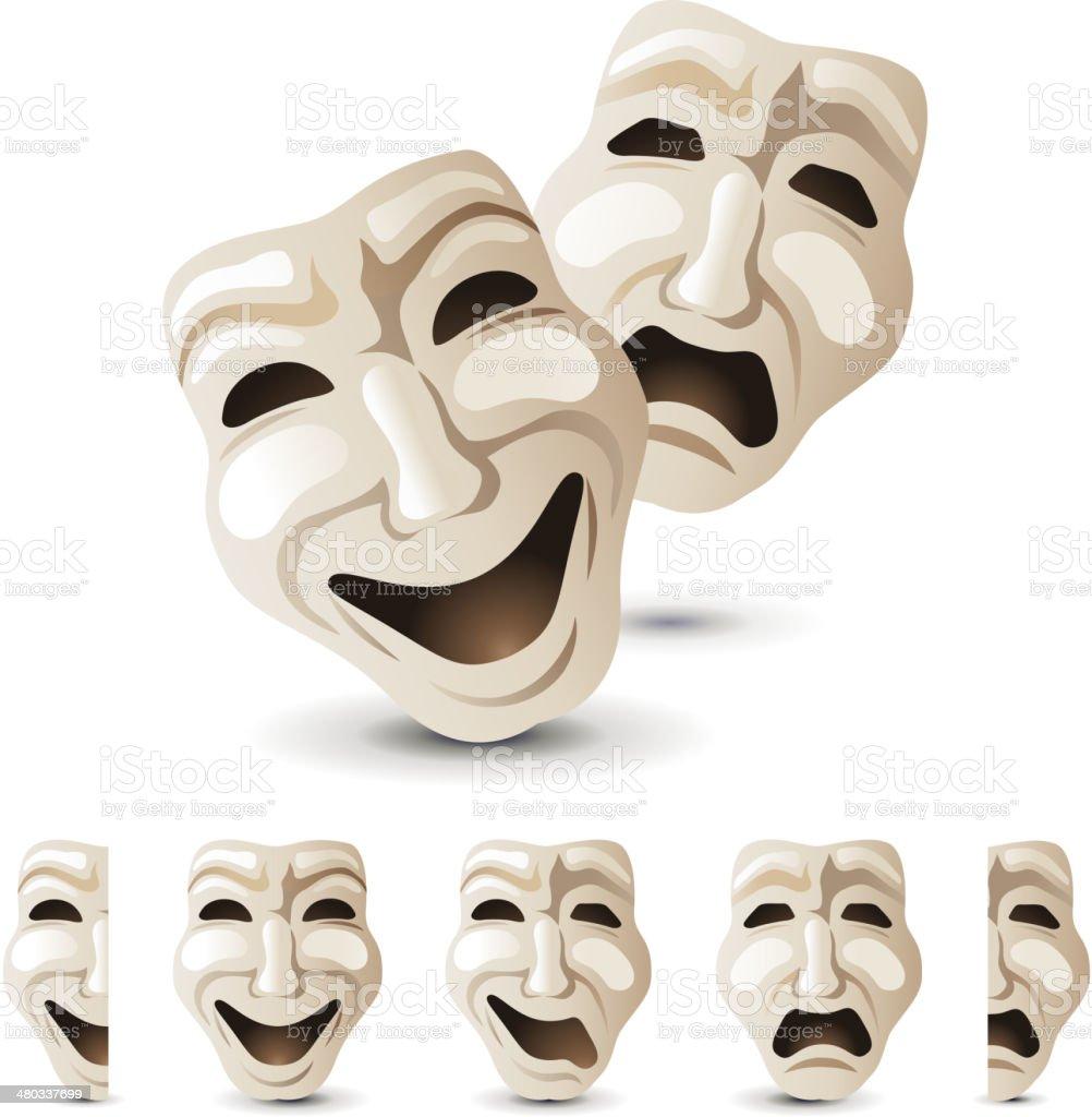 theatre masks vector art illustration