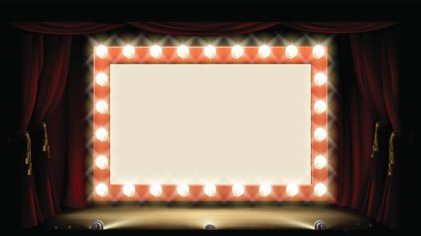 Theatre or Cinema with style light bulb sign Cinema or theatre with light bulb sign premiere event stock illustrations