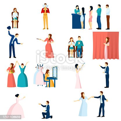 Theater acting flat icons collection with final love scene performance and audience applause abstract isolated vector illustration