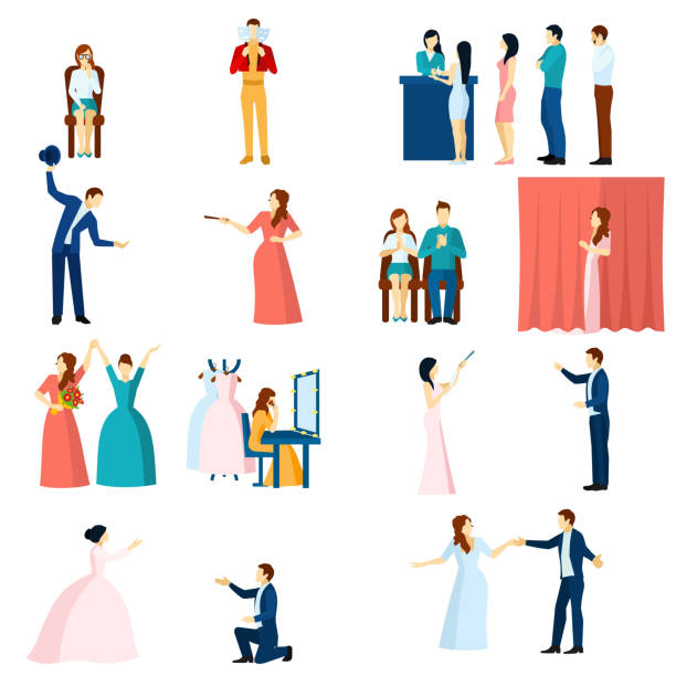 stockillustraties, clipart, cartoons en iconen met theater mensen plat - acteur