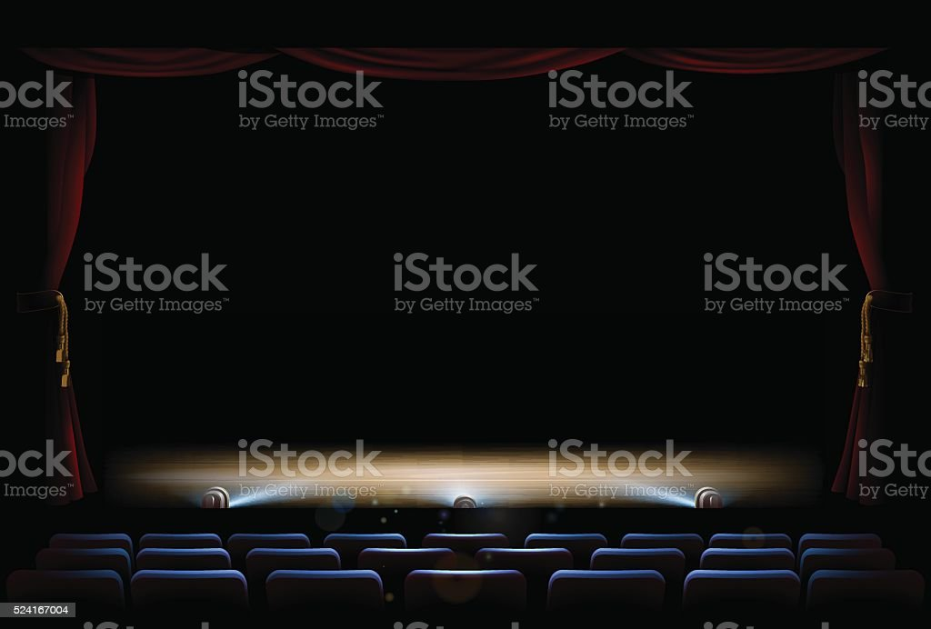 Theatre Stage and Curtains vector art illustration