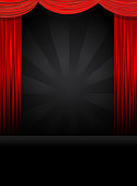 Vector illustration Theatre Stage Theatre Stage in black with red curtains