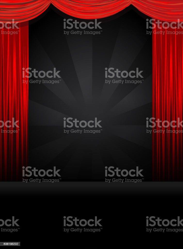 Theatre Stage in black with red curtains vector art illustration