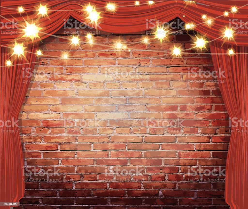 Theatre Stage Rustic Brick Wall With Elegant String Lights