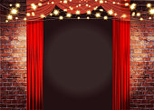 Vector illustration Theatre Stage Rustic brick wall with elegant string lights, curtains background. Poster design or invitation template, easy to edit on separate layers. Includes spot light and strings with sparkling lights on a textured brick wall. Perfect for comedy night, entertainment, stage show, theatrical show, special improv comedy night, wedding invite, event invite.
