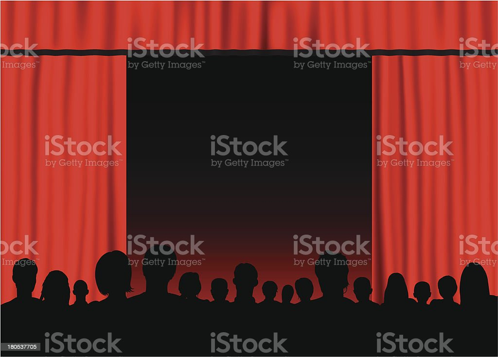 Theatre (People are Complete- a Clipping Path Hides the Legs) royalty-free theatre stock vector art & more images of adult