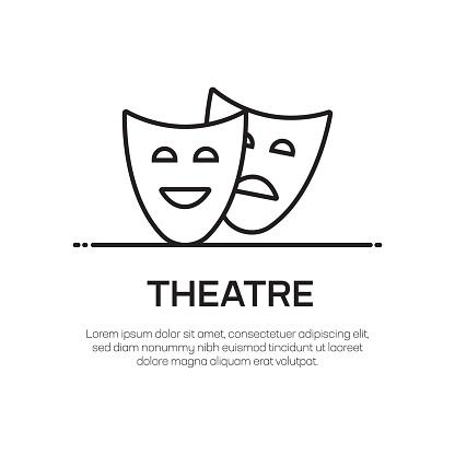 Theatre Vector Line Icon - Simple Thin Line Icon, Premium Quality Design Element
