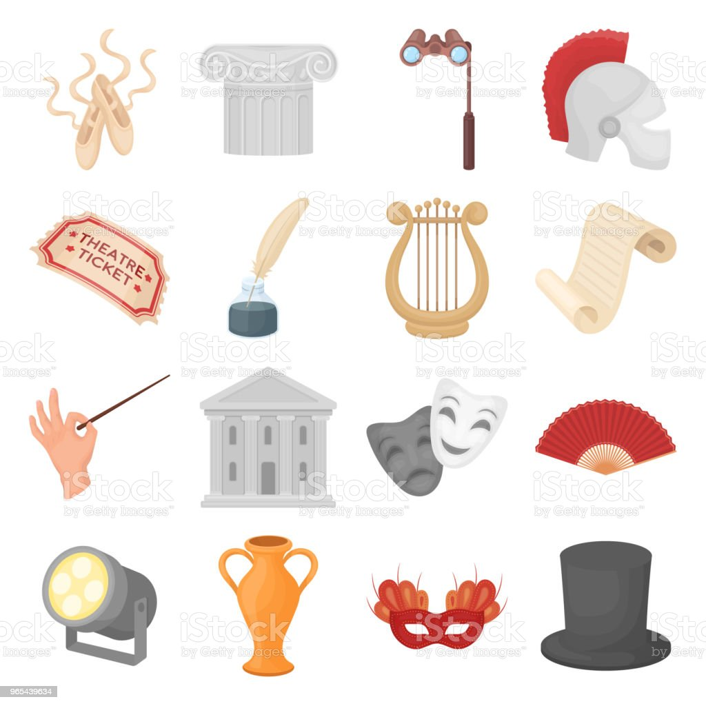 Theatrical art cartoon icons in set collection for design.Theater equipment and accessories vector symbol stock web illustration. royalty-free theatrical art cartoon icons in set collection for designtheater equipment and accessories vector symbol stock web illustration stock vector art & more images of actor