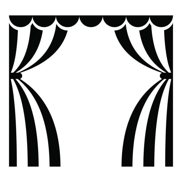 illustrazioni stock, clip art, cartoni animati e icone di tendenza di theatrical curtains icon - sipario