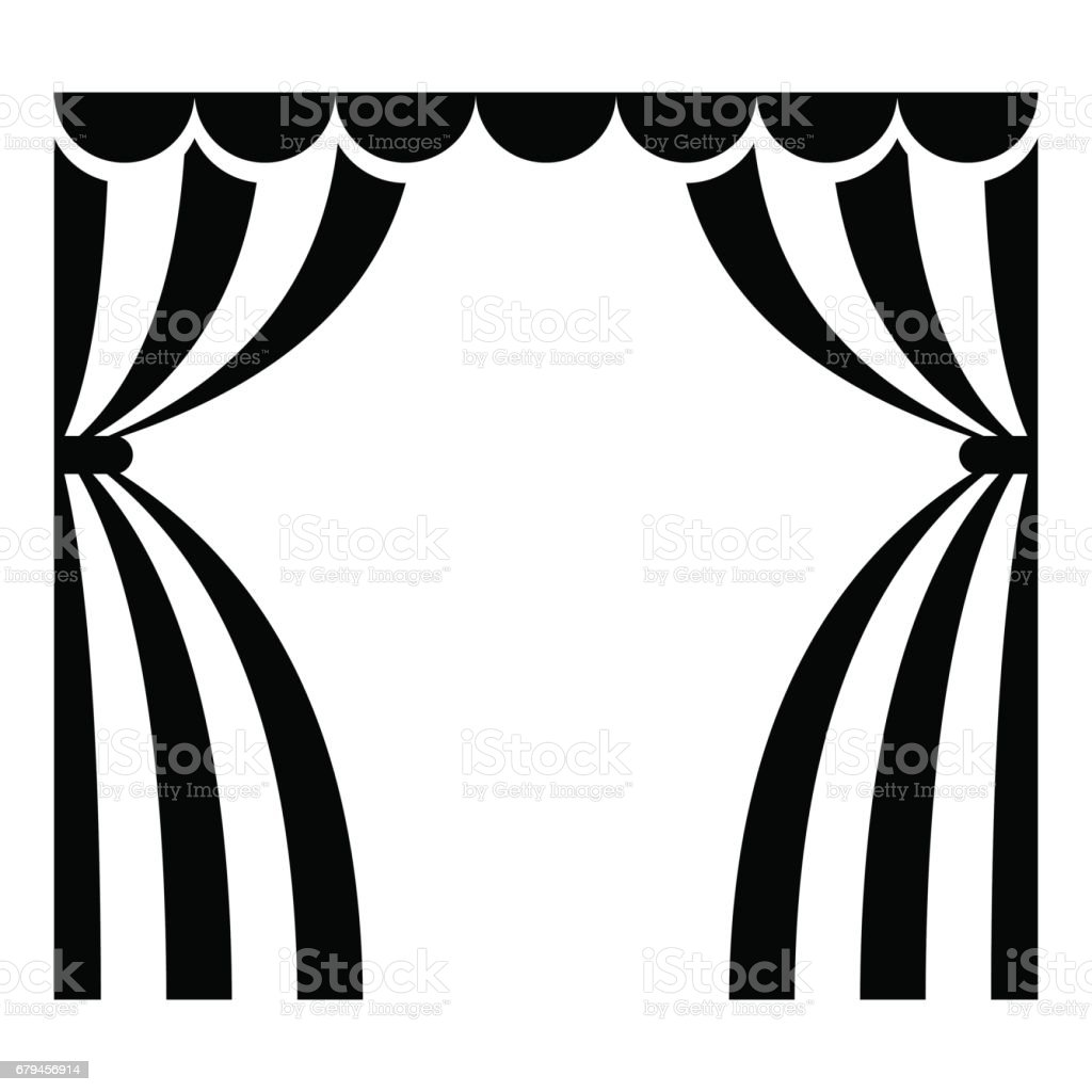 ... Theatrical Curtains Icon Vector Art Illustration ...