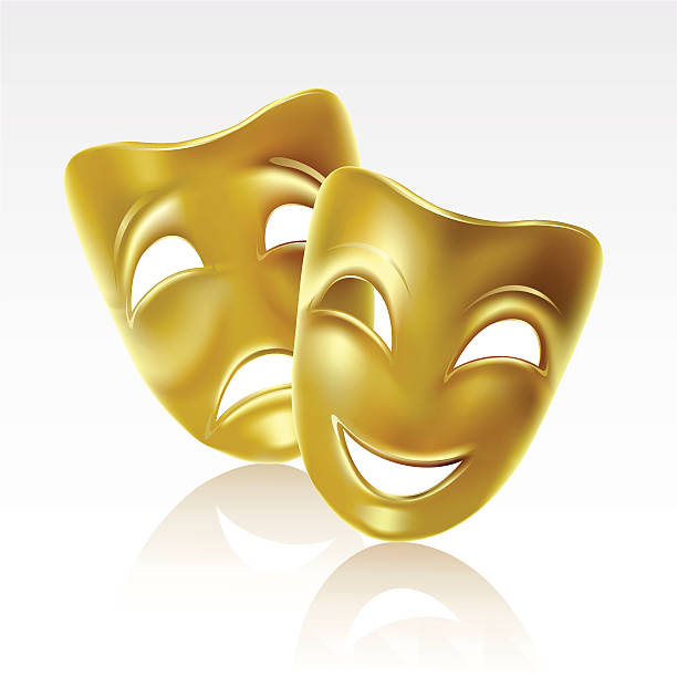 Royalty Free Silhouette Of A Thespian Mask Clip Art ...