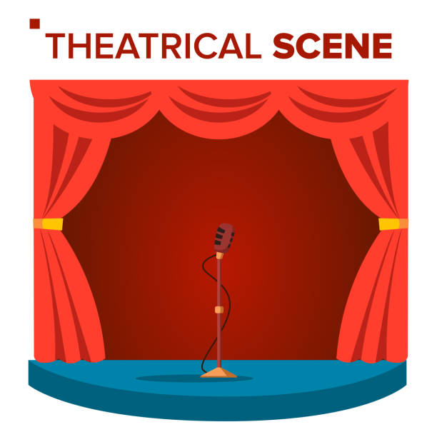 illustrazioni stock, clip art, cartoni animati e icone di tendenza di theatrical scene vector. performane. stage podium. red velvet curtains. event show. isolated flat cartoon illustration - turno sportivo