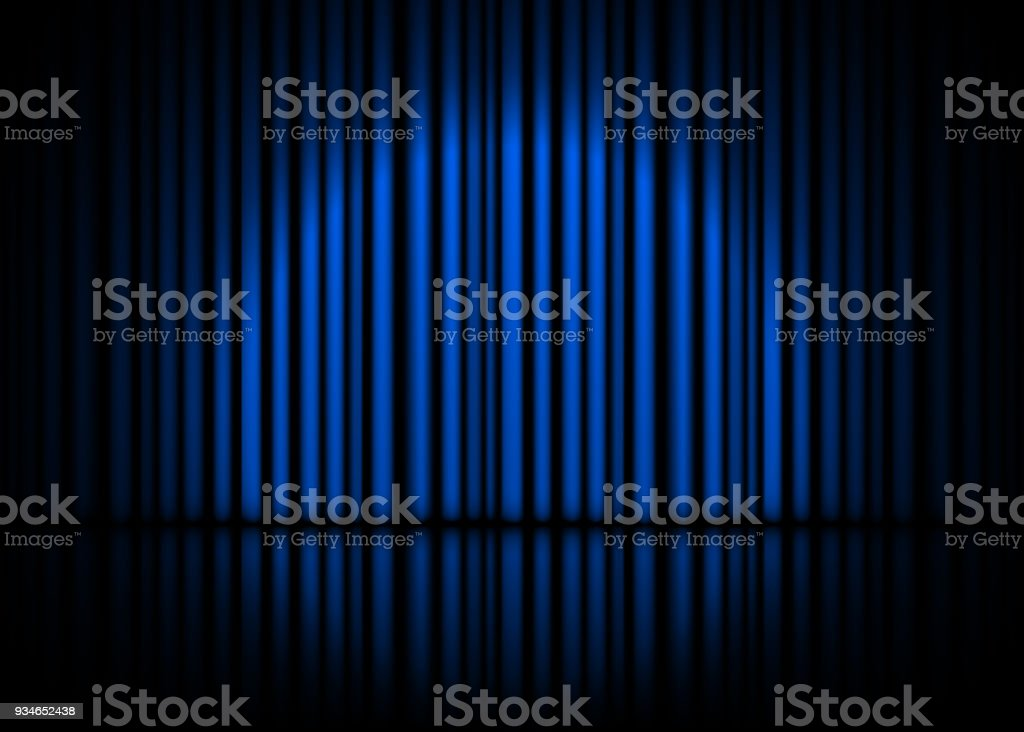 Theatrical scene with blue curtains and reflection. Stock vector illustration