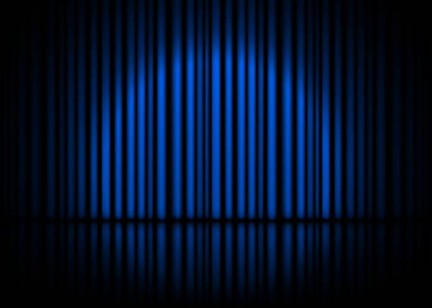 ブルーのカーテンと反射の演劇シーン。株式ベクトル図 - ステージ点のイラスト素材/クリップアート素材/マンガ素材/アイコン素材