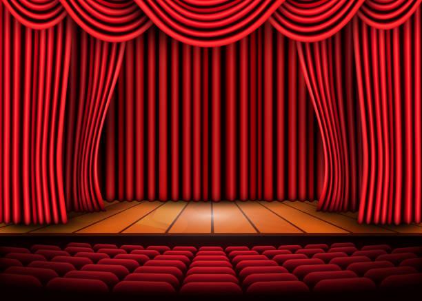 illustrazioni stock, clip art, cartoni animati e icone di tendenza di theatrical scene with red curtains and wooden floor. stock vector illustration - sipario