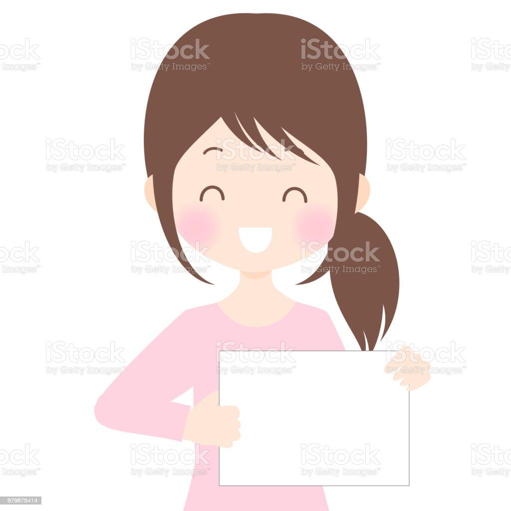 The delightful lady haves flip vector art illustration