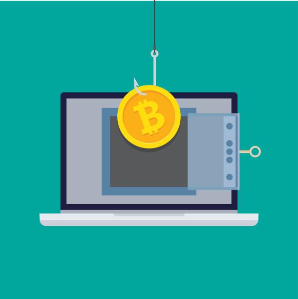 stockillustraties, clipart, cartoons en iconen met diefstal bitcoins of virtueel geld. - bitcoin