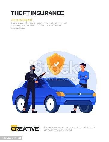 Theft Insurance Concept Flat Design for Posters, Covers and Banners. Modern Flat Design Vector Illustration.
