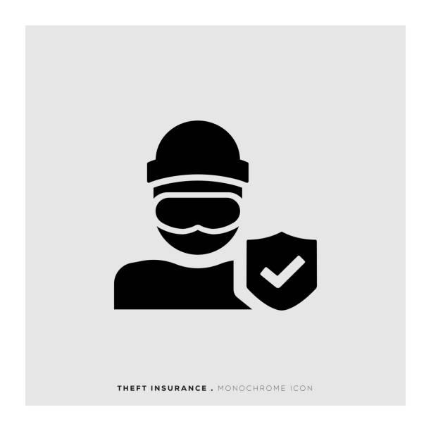 Theft Insurance Icon Theft Insurance Icon vandalism stock illustrations