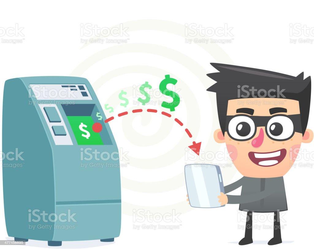 theft money using modern technology vector art illustration