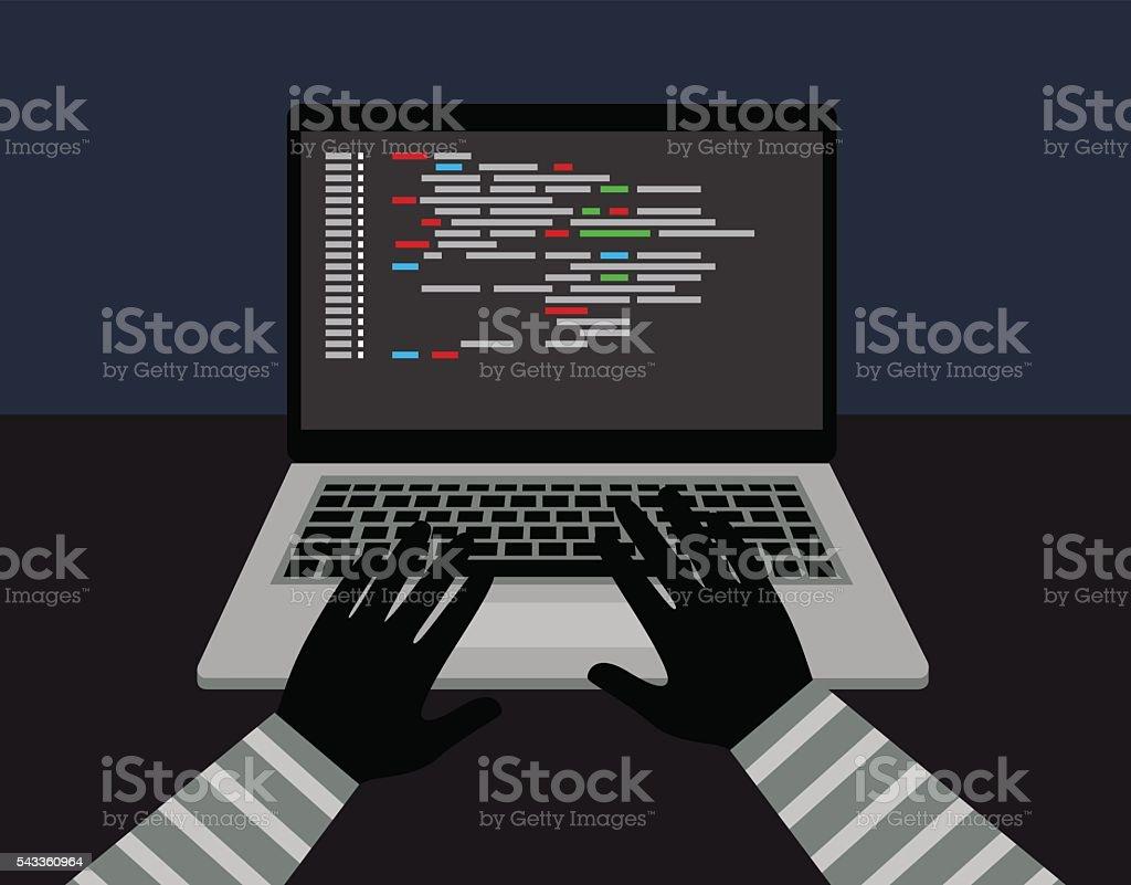 theft of data from the computer - ilustración de arte vectorial