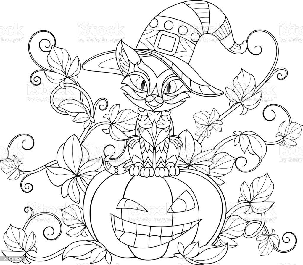 Thématique à Colorier Pour Halloween Vecteurs Libres De
