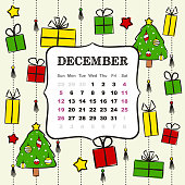 Thematic template for a calendar for 2021. The month of December. Design for the calendar on the theme of winter, Christmas, New Year, elegant Christmas tree and gifts. Pattern for printing yearbooks and notebooks. Vector hand-drawn illustration, doodle style.