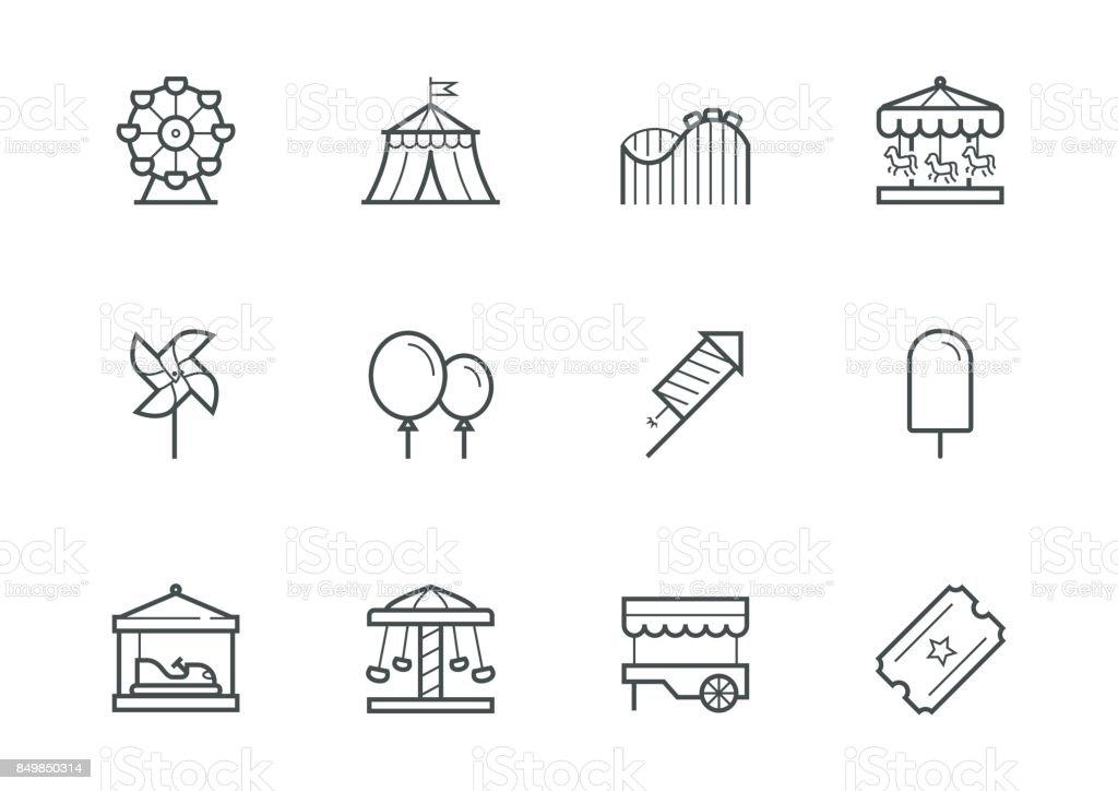 Theme amusement park icon set in thin line style vector art illustration