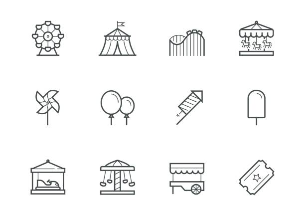 theme amusement park icon set in thin line style - roller coaster stock illustrations
