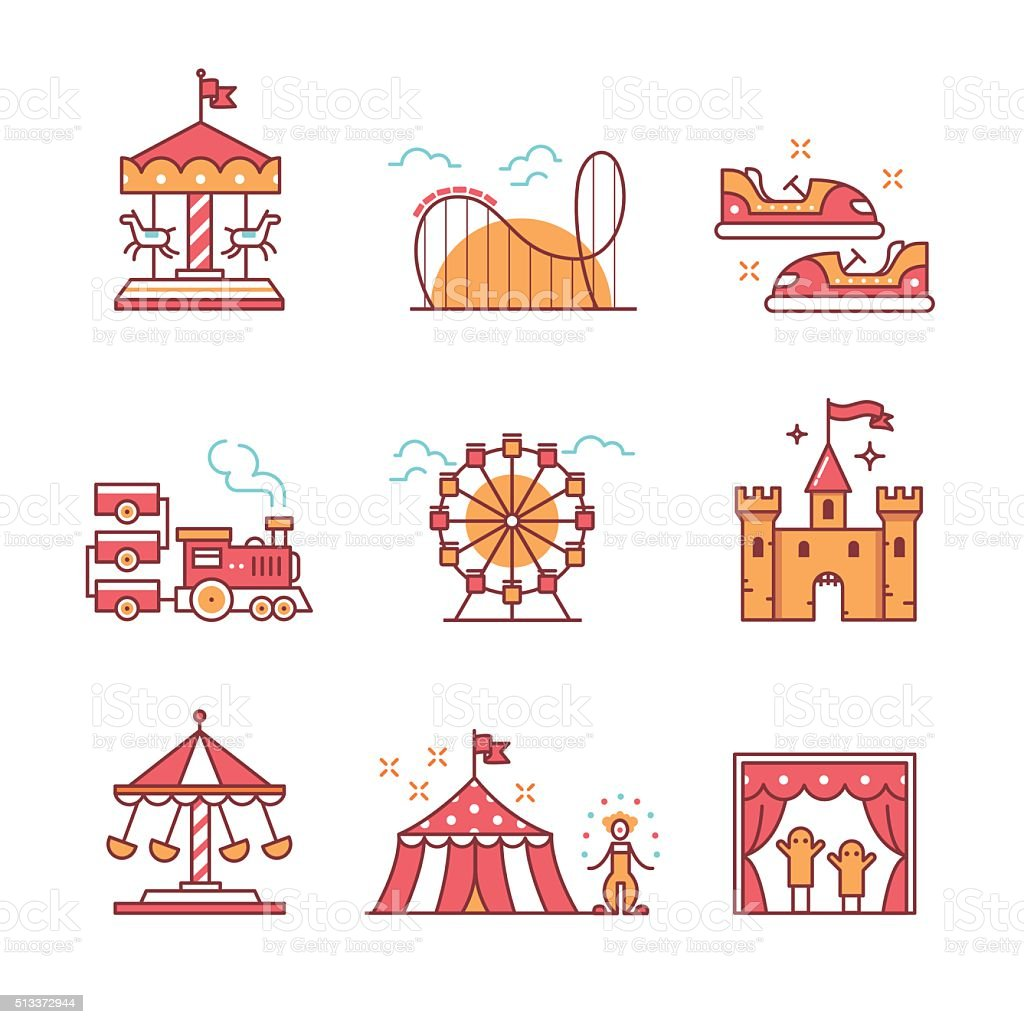 Theme amusement park sings set vector art illustration