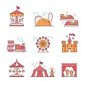 Theme amusement park sings set