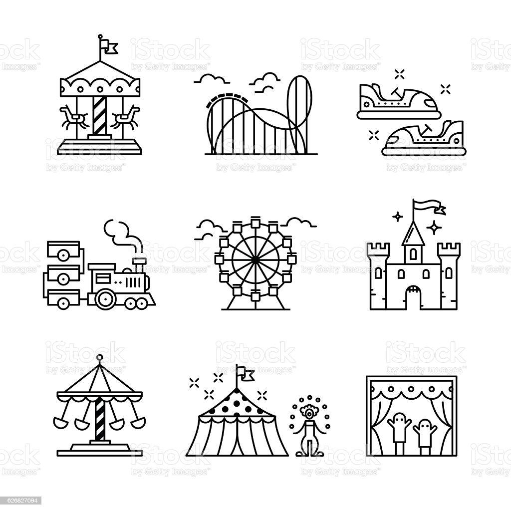 Parque de diversiones temático conjunto de signos - ilustración de arte vectorial
