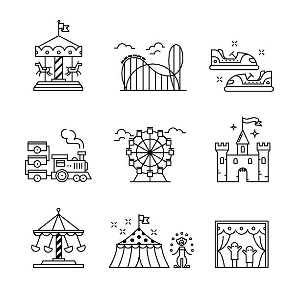 theme amusement park sings set - roller coaster stock illustrations