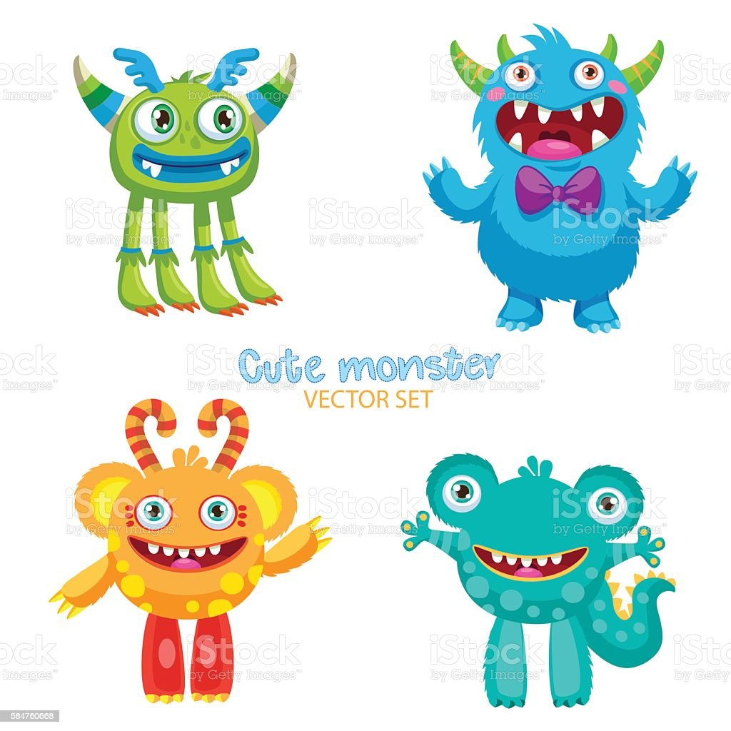 Theme For Kids T-Shirt. Cute Monsters Vector Set. ベクターアートイラスト