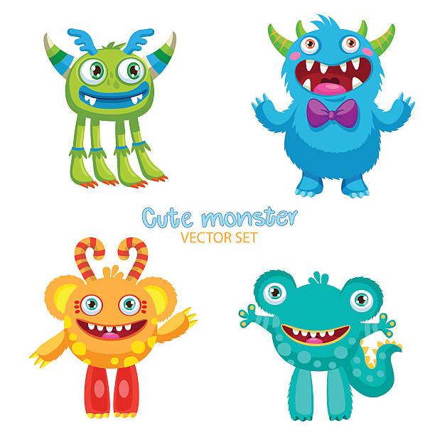 illustrazioni stock, clip art, cartoni animati e icone di tendenza di theme for kids t-shirt. cute monsters vector set. - frogman