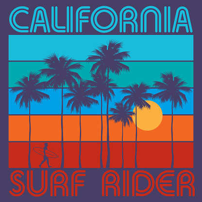 Theme of surfing with text California, Surf Rider. Typography, t-shirt graphics, poster, print, banner or postcard, vector illustration