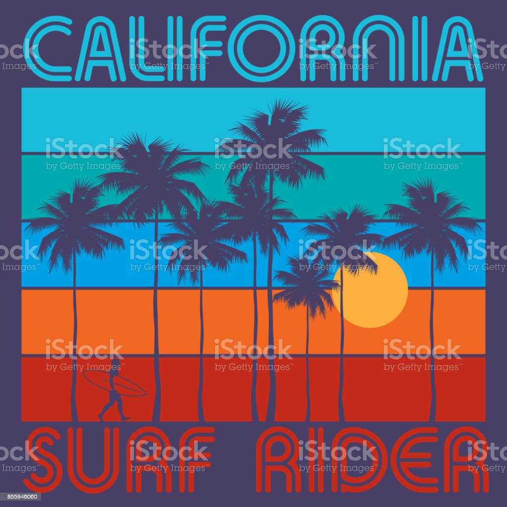 Theme of surfing with text California, Surf Rider vector art illustration