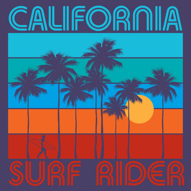 Theme of surfing with text California, Surf Rider Theme of surfing with text California, Surf Rider. Typography, t-shirt graphics, poster, print, banner or postcard, vector illustration surf stock illustrations