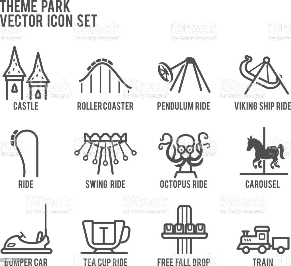 Conjunto de iconos de Vector de atracciones Parque temático - ilustración de arte vectorial