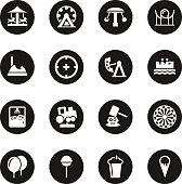 Theme Park Icons Black Circle Series Vector EPS10 File.
